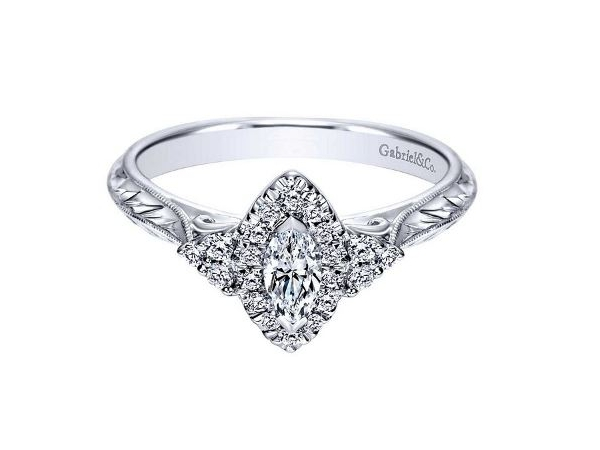 Gabriel Vintage Marquis Diamond Engagement Ring by Gabriel & Co