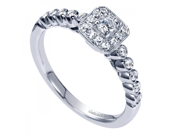 Gabriel Square Halo Diamond Engagement Ring by Gabriel & Co