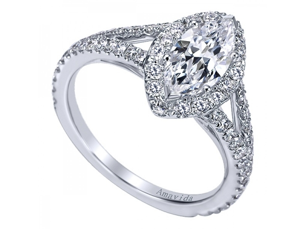 18K White Gold Contemporary Halo Engagement Ring by Gabriel & Co