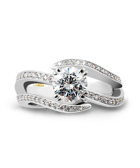 Shimmer by Mark Schneider - Shimmer by Mark Schneider - The Shimmer engagement ring contains 65 diamonds, totaling 0.325ctw, the center stone is sold separately.