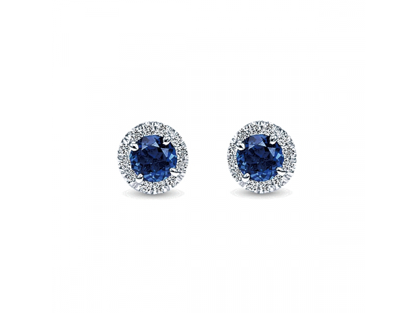 Diamond and Sapphire Stud Earring by Gabriel & Co
