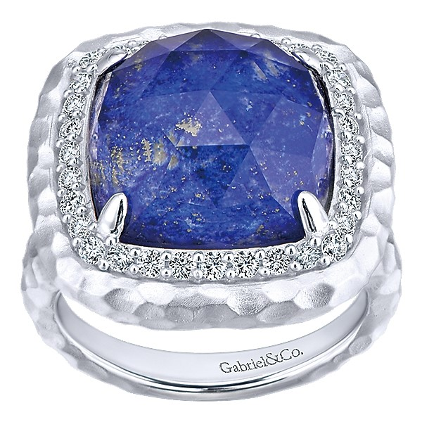 Sterling Silver Lapis & White Sapphire Ring by Gabriel & Co